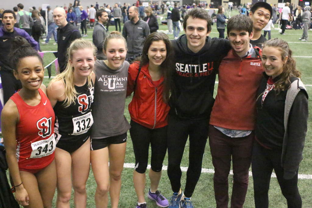 Seattle University track members show their school pride.