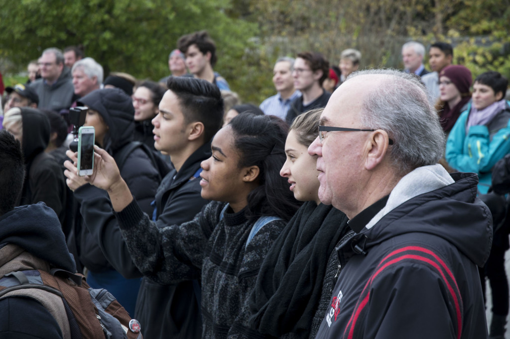 Father Steve Sunborg and students stood in solidarity with Missouri State Univerisity in the wake of racial controversy involving school administration