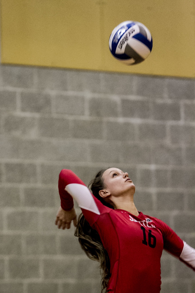 Kirstin Schauble serves during a game against New Mexico State.