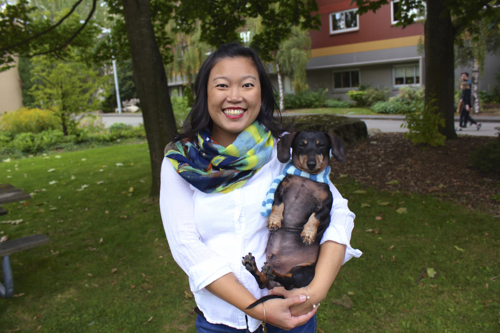Deanne Liu, former Resident Director for Xavier Hall, and her two dog Oscar and Guinness.