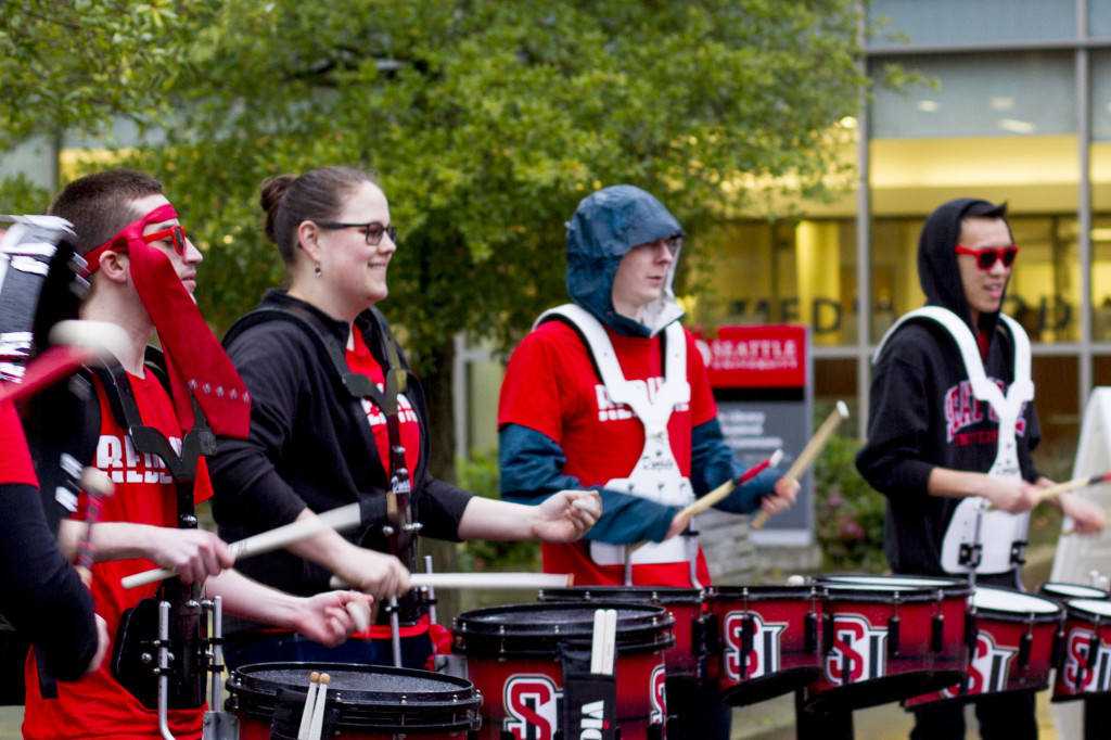 The Homecoming Umbrella Parade was held on Friday afternoon in front of the library, to pump up the crowd for the upcoming game.