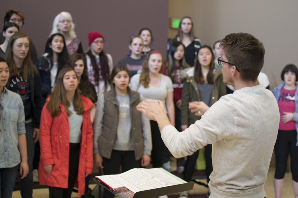 Seattle University Choir practicing for their upcoming performance.