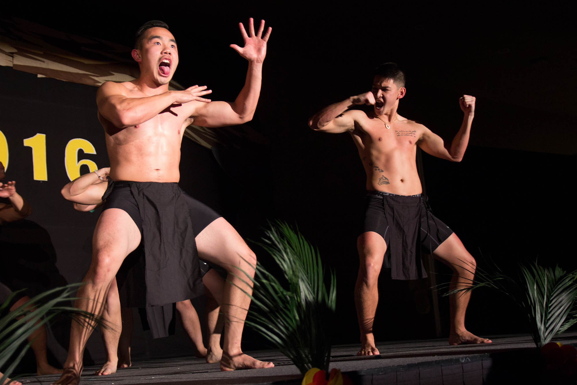 The men perform the Haka, a traditional warrrior dance and a staple of many Pacific Islander cultures