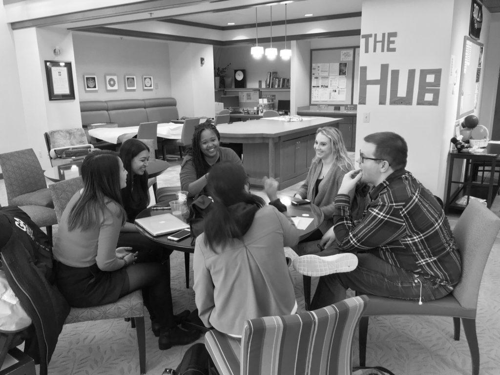 Redhawk Resource Hub members discuss upcoming events and strategy for the week.
