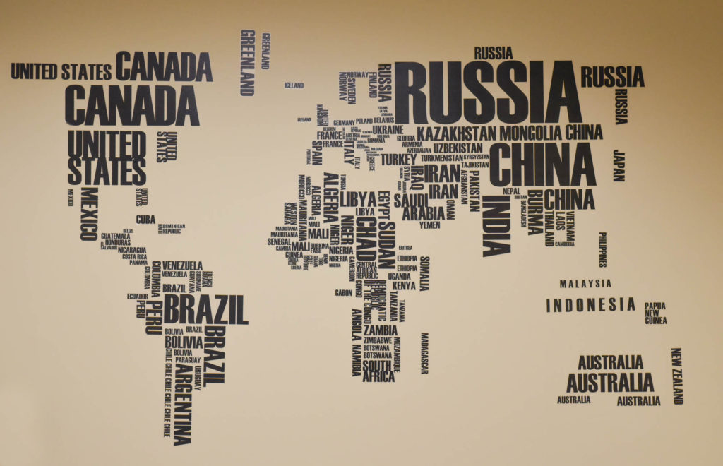 A world map at the Education Abroad office.