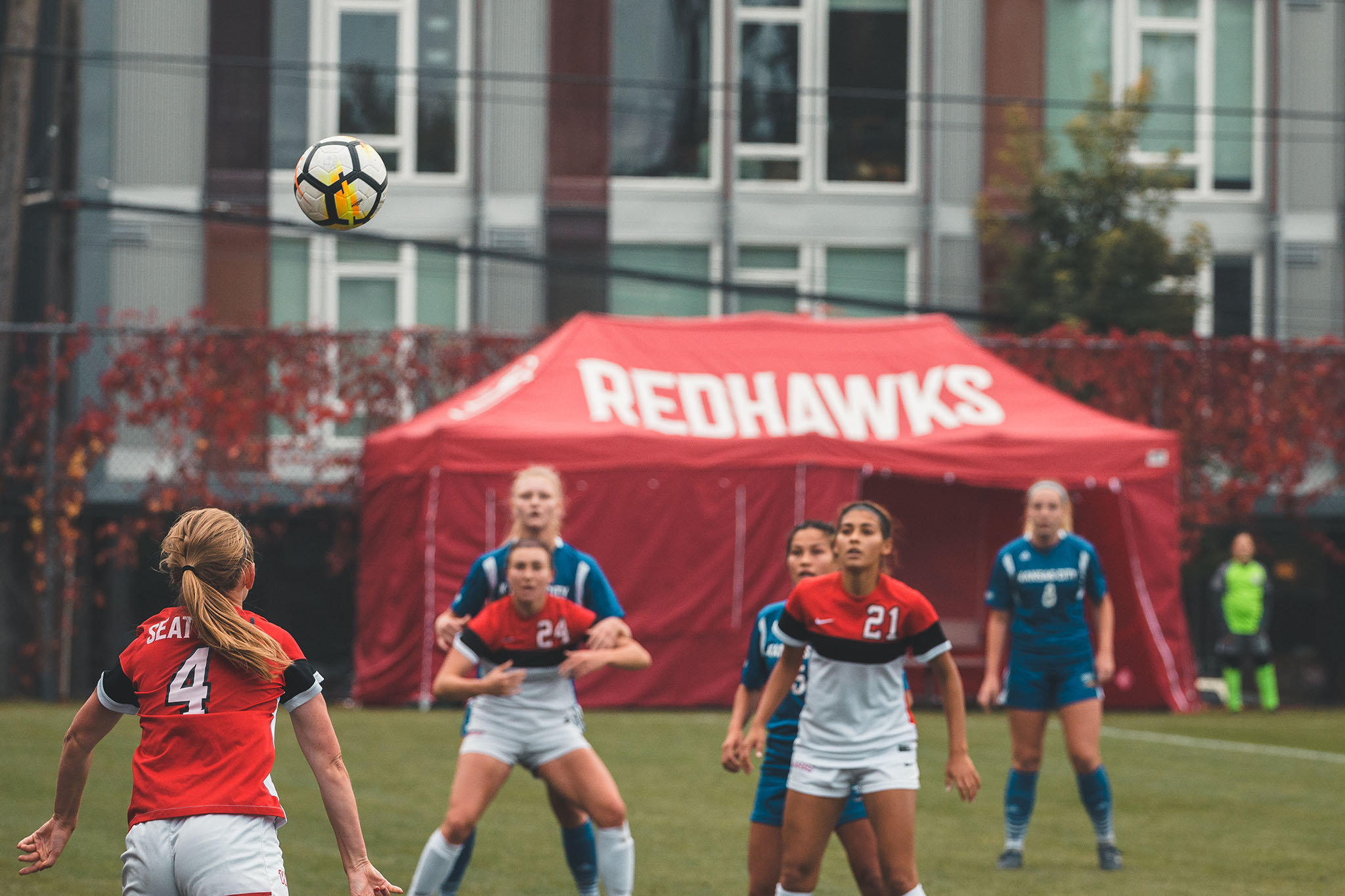 Senior Hannah Carrothers throws the ball in to play during her last home game as a Seattle University Redhawk on Sunday, October 21st.