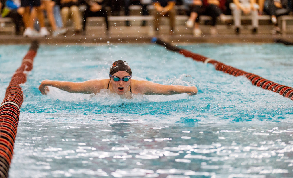 Jenessa Schulte in action during the Seattle University Women's Swim meet against Pacific Lutheran on Friday, October 12.