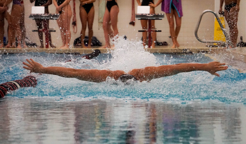 SU swimmers race against past teammates at Saturday's annual Alumni Meet.