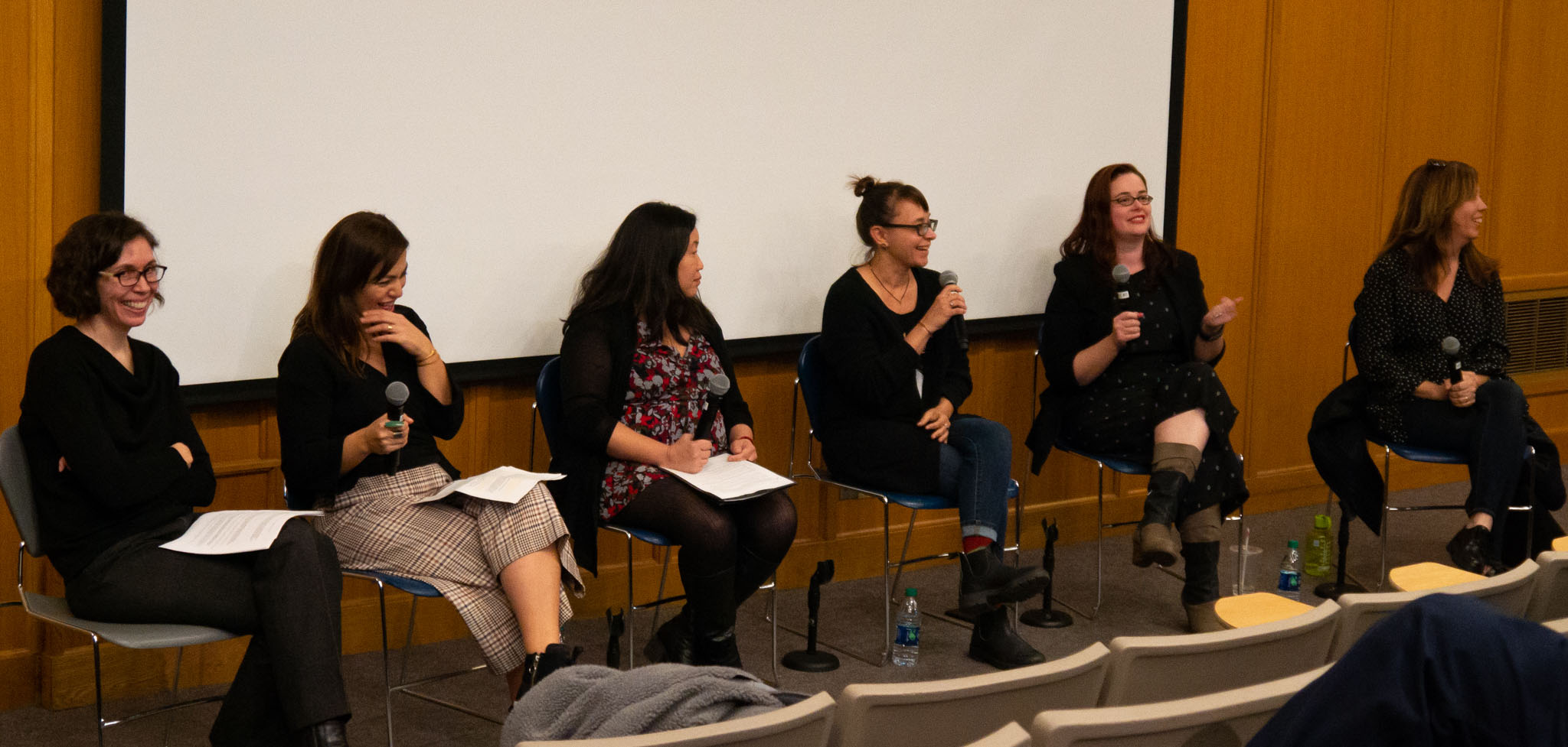 Sirin Aysan, Ellen Huang, Tana Kupczak, Lacey Leavitt, Kristen Schaffer (from left) discuss prevalent issues involving women in film in the wake of the #MeToo Movement during a panel moderated by Professor Justine Barda.