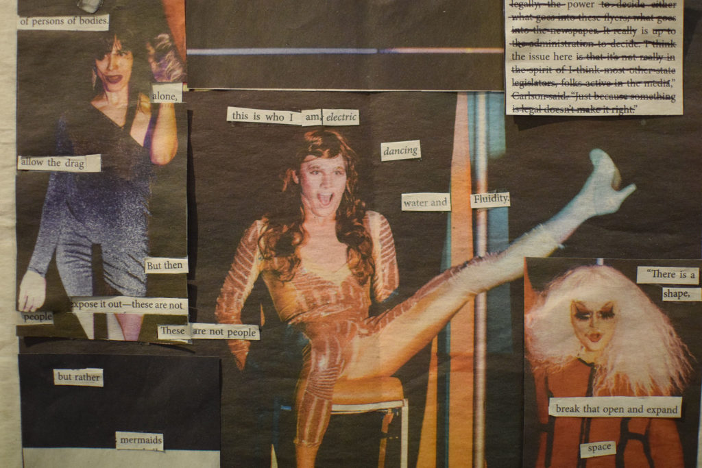 Dev McCauley's pop up art show in the Fine Arts building explores the experience and issues of being a trans student on Seattle U's campus and features recreations and manipulations of The Spectator's drag show cover from last spring.