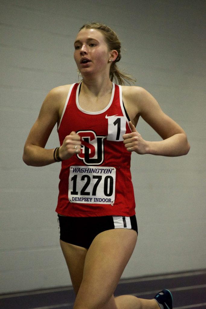Siobhan Rubio, a third year, races at University of Washington's Track Meet last week.