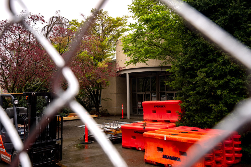 The+university+services+building+is+now+fenced+off+with+demolition+trailers+set+to+arrive+April+13.
