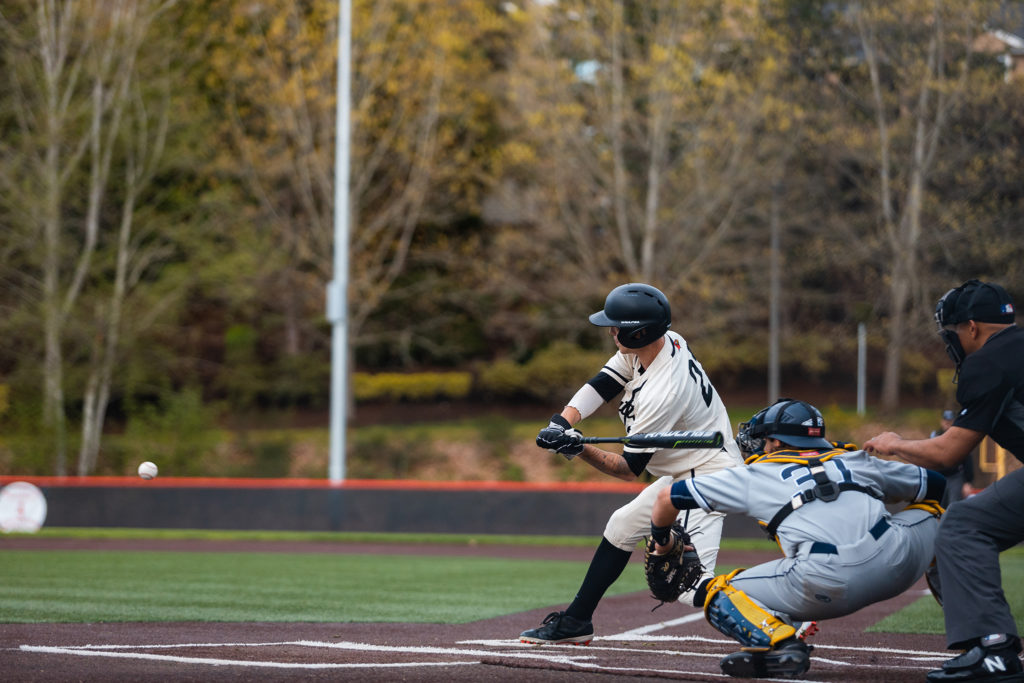 Gavin Rork up to bat against the University of British Columbia on Tuesday, April 23, 2019.