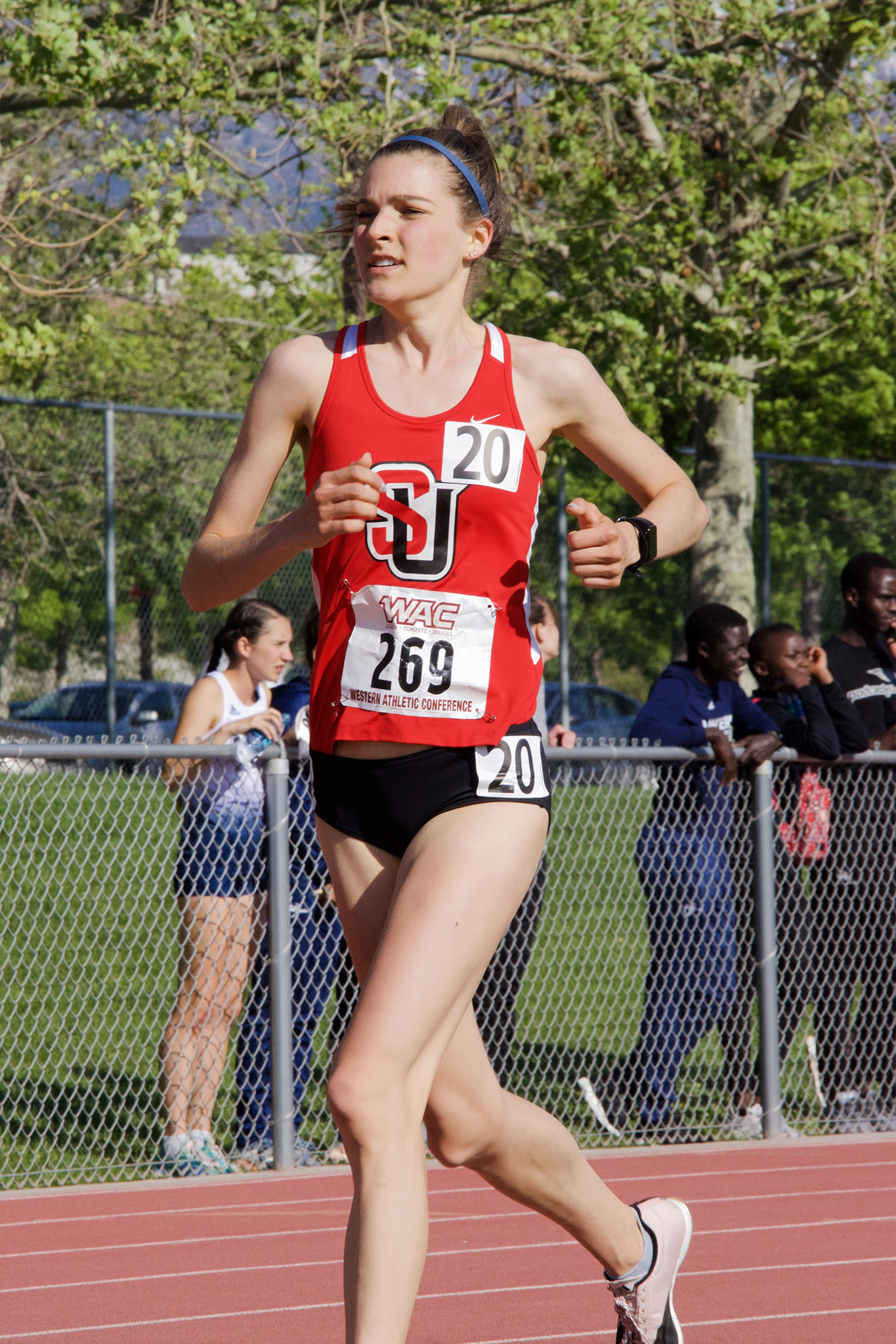 Transfer Courtney Gelmini competed in her first WAC outdoor conference meet this season.