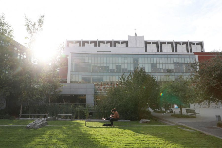 exterior shot of Lemieux Library on a sunny day