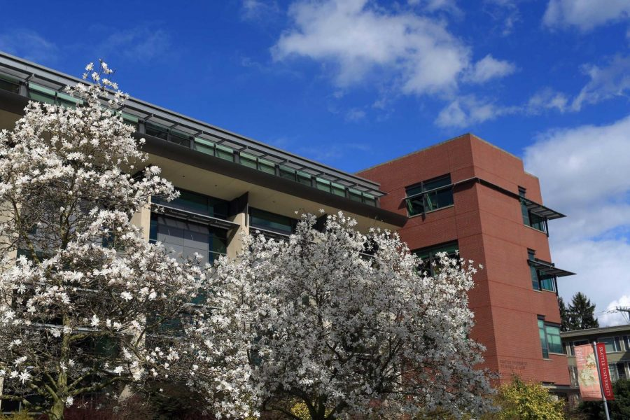 Exterior of Sullivan Law School in the spring