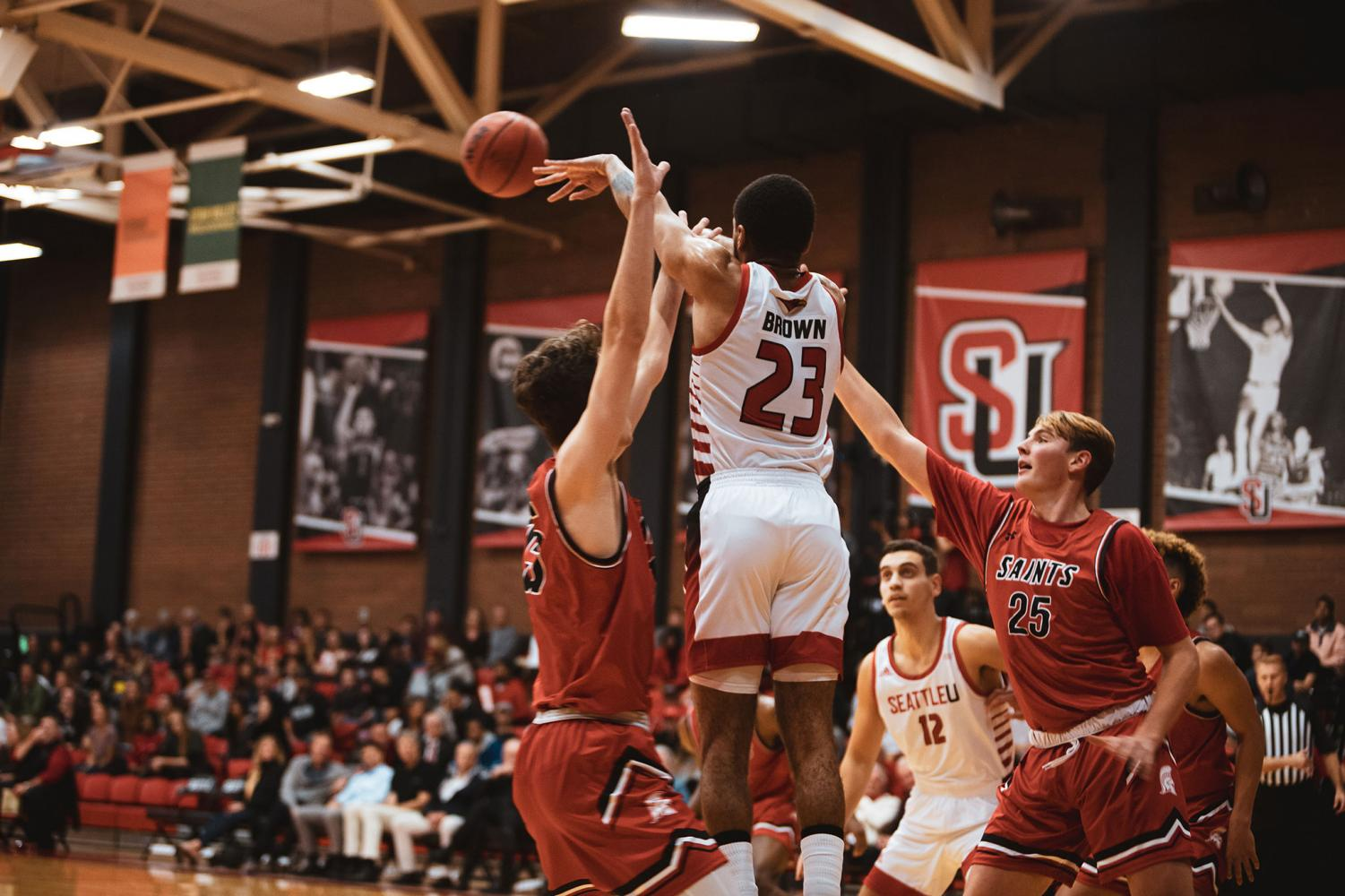 Terrell Brown finding room against Saint Martin's during their year opener on Tuesday Oct. 22, which resulted in a Redhawk win at 92-71