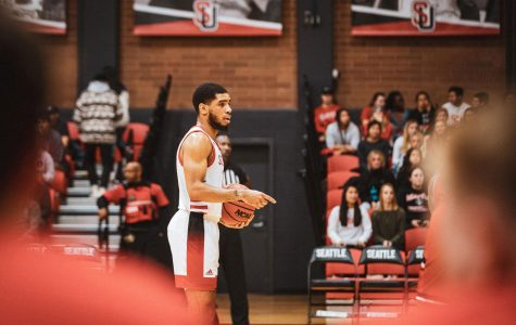 Terrell Brown led the Redhawks to their first win of the 2019-2020 school year during Tuesday's matchup against St. Martin's, October 22, 2019 | Javier Plascencia • The Spectator