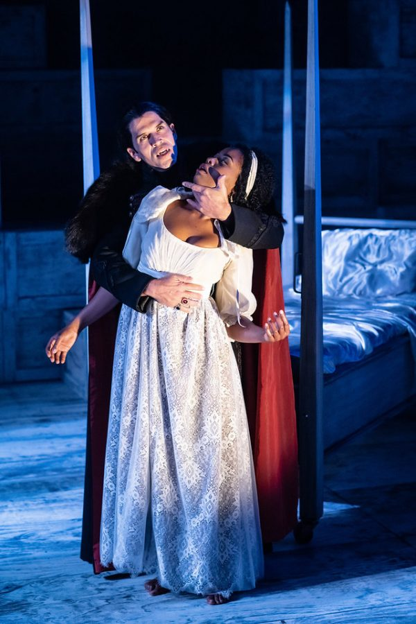 """Brandon O'Neill and Claudine Mboligikpelani Nako play Dracula and Lucy in the ACT Theatre's production of """"Dracula."""""""