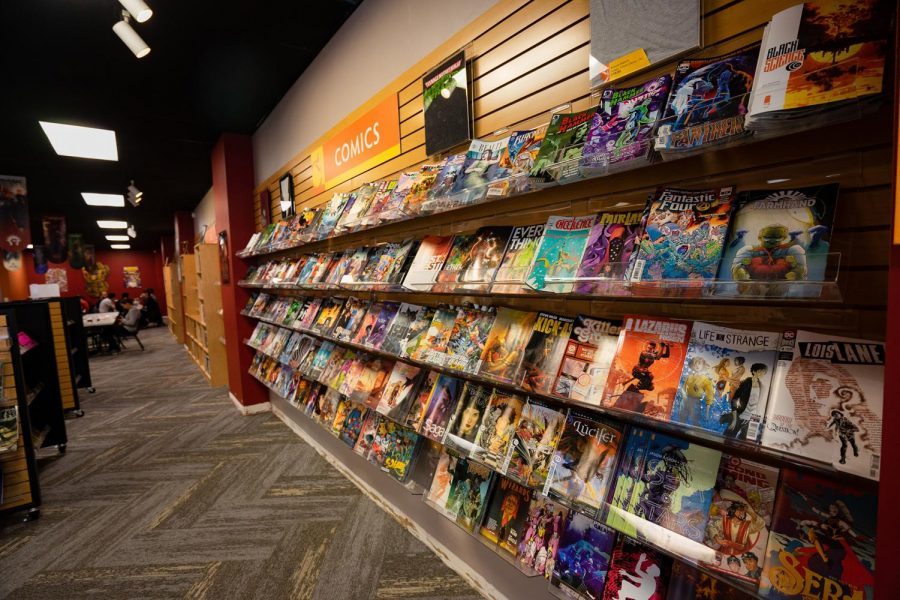 Wall of comics at Phoenix Comic and Games store