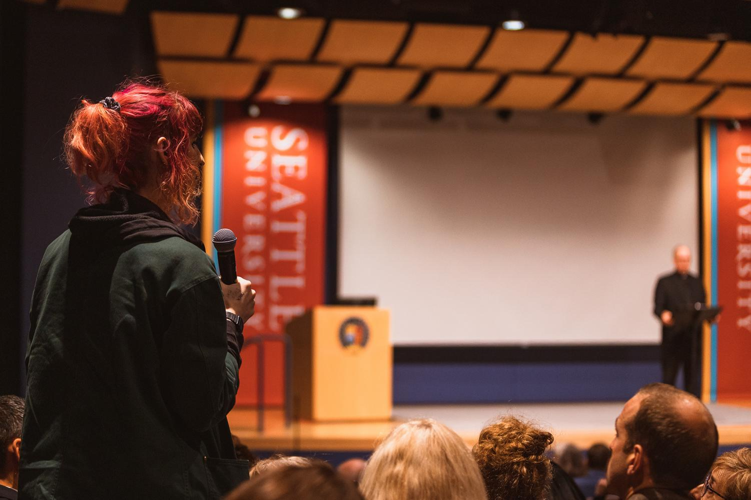 The Fall Quarter President's Forum was open to audience questions following Sundborg's recent Planned Parenthood decision.