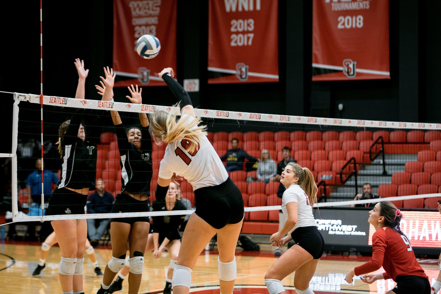 Outside hitter Eve Kerschenbaum was too much for Kansas City's front line.