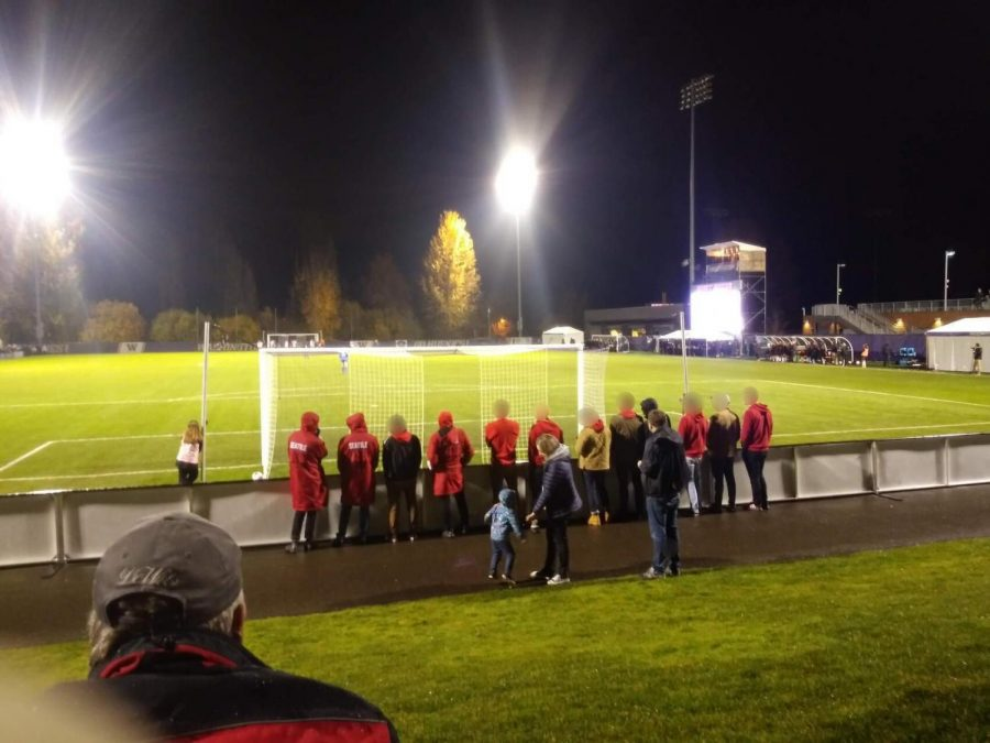 A photo provided by Brian Baird of the group of students, he alleges some of them yelled at the University of Washington goalie.