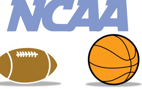 graphic of a football and basketball, with text above reading