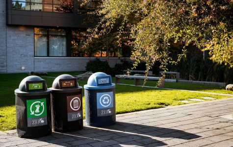 Compost, trash, and recycle bins on campus