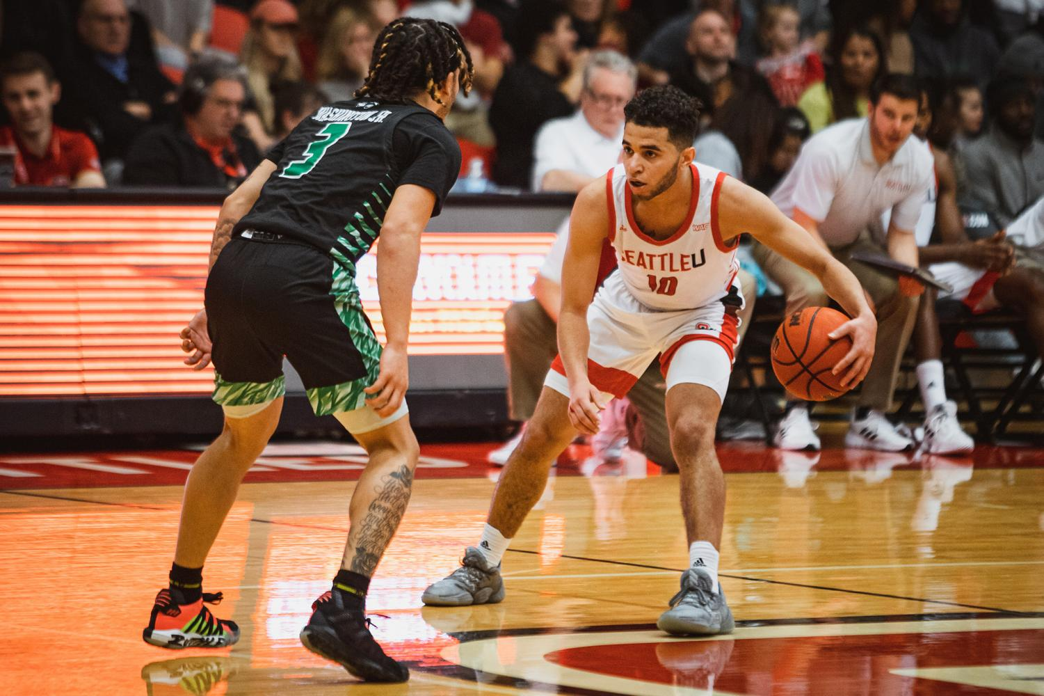 Aaron Nettles matching up against Utah Valley's defense on Saturday night at the Redhawk Center.