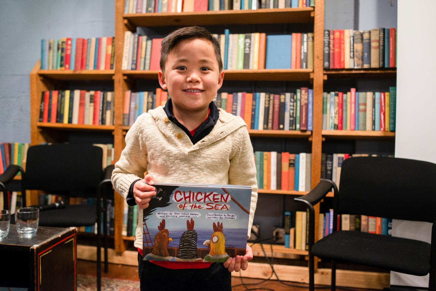 "Five-year-old Ellison Nguyen says he came up with the idea for his book ""Chicken of the Sea"" in his head."