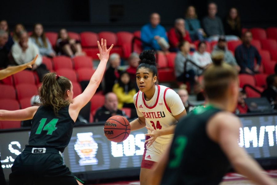 Chinwe Ezeonu faces off against Utah Valley's defense at the Redhawk Center on Feb. 8, 2020.