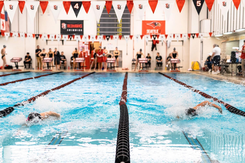Seattle University Women's Swim taking on the University of Idaho at the Red- hawk Center on Saturday, February 1st, 2020.