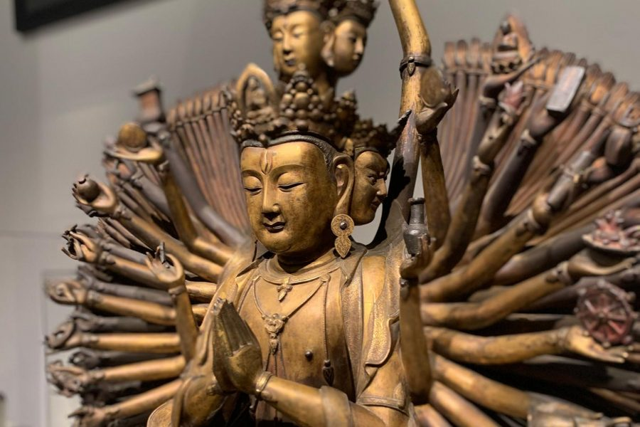 A gallery dedicated to scultpure of Asian spirituality includes works of Buddhist and Hindu worship.