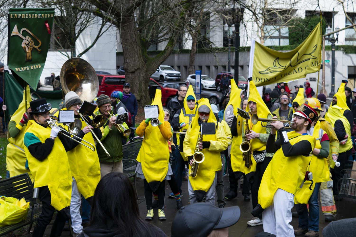 "Banana Block playing New Orleans style jazz at the ""kick the KKK our of Portland"" rally on Feb. 8, 2020."