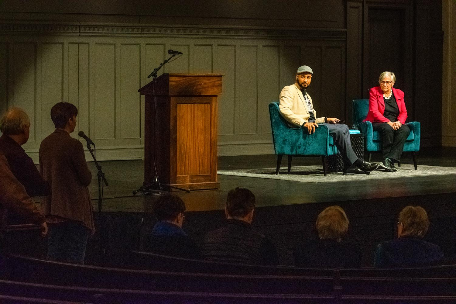 Jesse Hagopian and Diane Ravitch responding to questions from the audience.