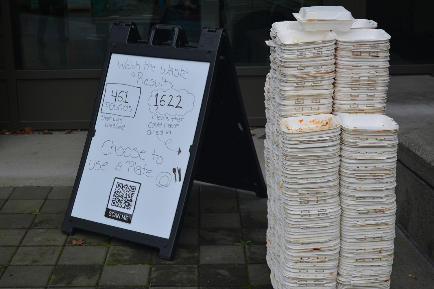 During the Weight the Waste event at C-street, volunteers weighed 461 pounds of food waste and counted 1,622 take-out boxes.