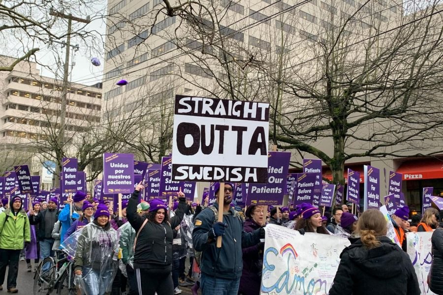 Demonstrations protesting poor working conditions on behalf of nurses at Swedish Medical Center made their way through First Hill as hundreds of nurses walked out of the hospital.