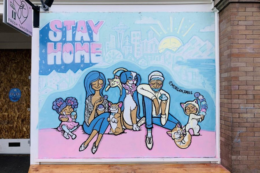 Three-paneled mural in front of Molly Moon's by Morgan Zion (@morgan_smile_designs).