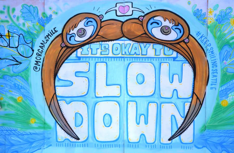 Sloth mural by Morgan Zion (@morgan_smile_designs).