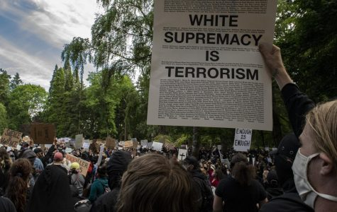 The protest began in Laurelhurst Park, Portland, Oregon.