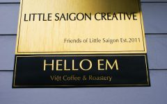 Here is the front sign outside on S Weller St  Hello Em partnered with Friends of Little Saigon