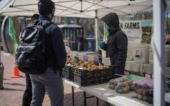 Customers buying potatoes from Olsen Farms at Capitol Hill Farmer's Market | Adeline Ong