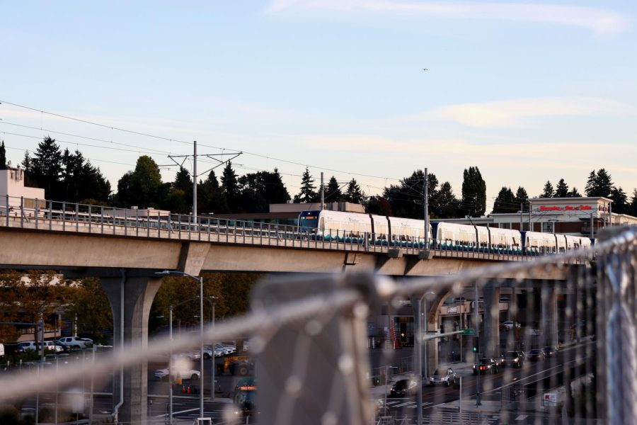 Sound Transit Link light rail train approaching Northgate Station.