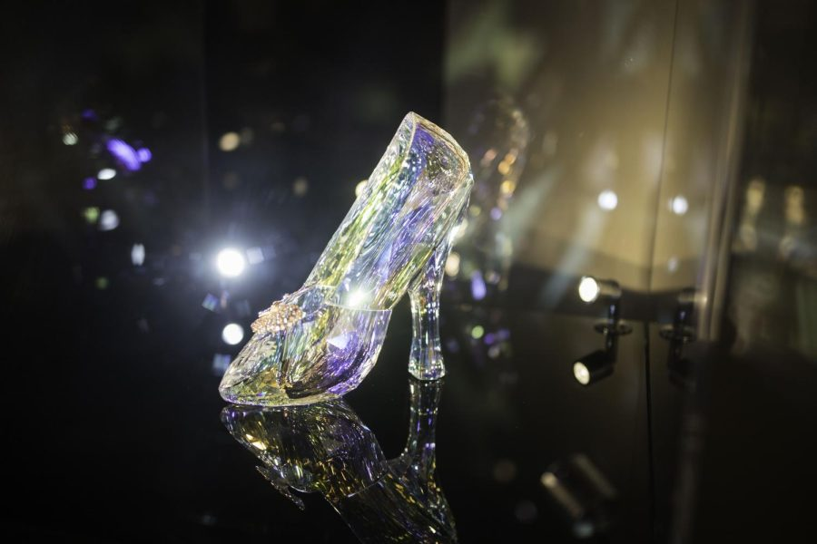 Cinderellas glass slipper made by Swarovski, front angle, Museum of Pop Culture
